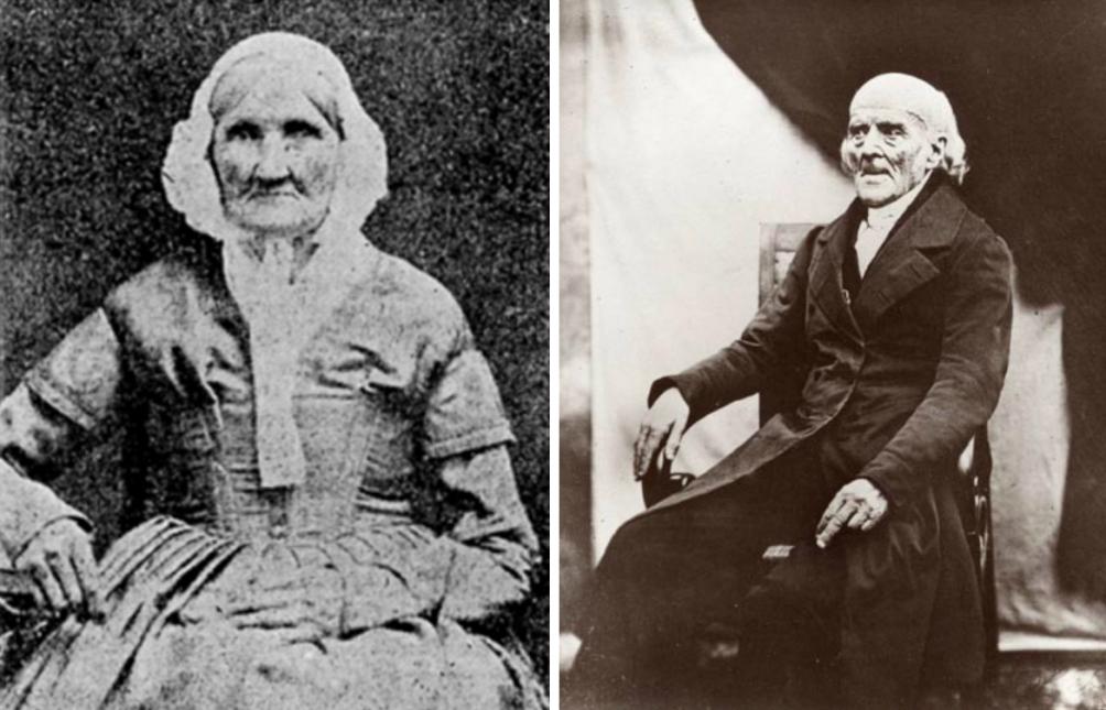 Hannah Stilley Gorby (links) die op deze foto ongeveer 94 jaar oud is en Samuel Hahneman (rechts). (Foto's: Wikimedia)
