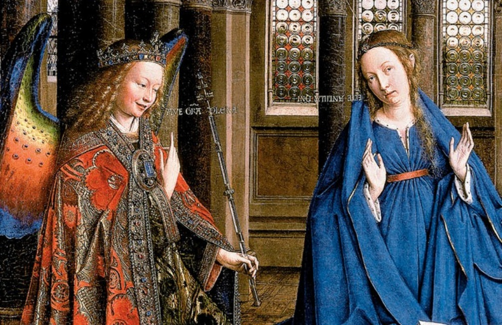 Detail van een van de topstukken van Jan van Eyck: de Annucatie. (Collectie: National Gallery of Art, Washington D.C, foto: Wikimedia)