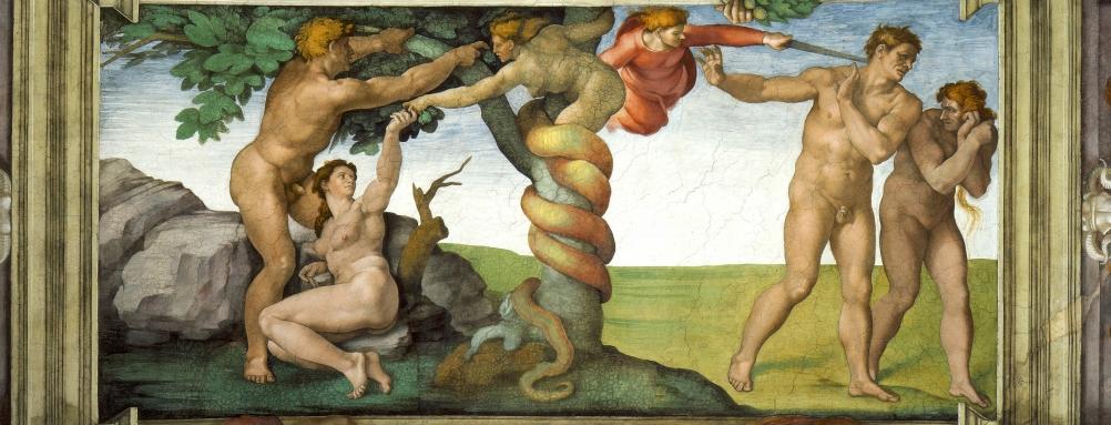 Een detail uit de Sixtijnse kapel: De verdrijving van Adam en Eva uit het paradijs. (Foto: Wikimedia)