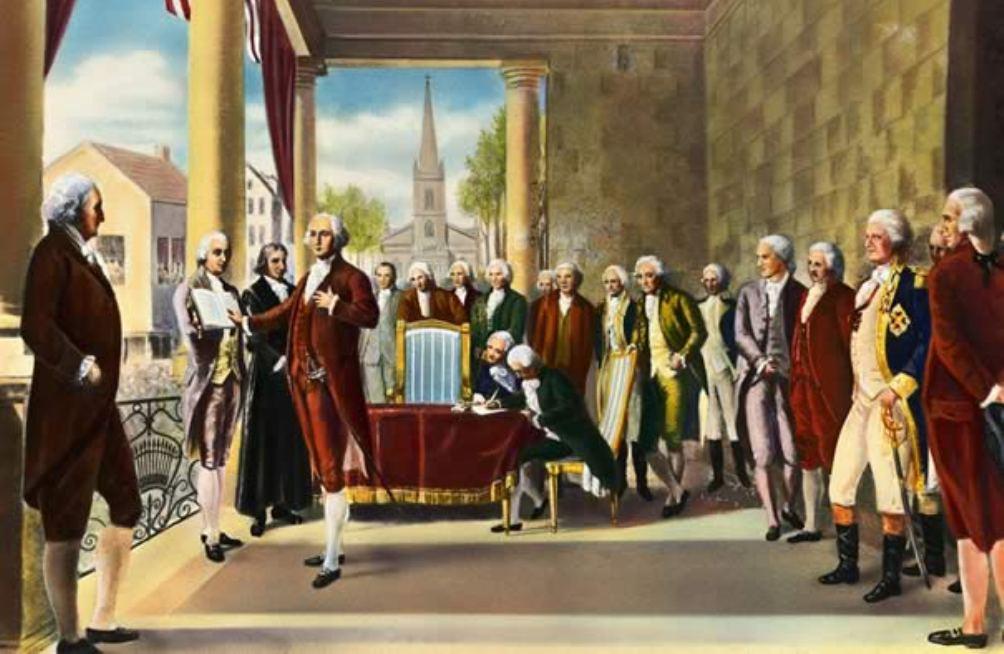 Inauguratie van George Washington in 1789. Hoewel Washington na de revolutie zeer bekend was voelde hij niets voor een positie van belang. Toch werd hij in 1787 afgevaardigd naar het Constitutional Congress in Philadelphia waar, na goedkeuring van de grondwet, hij unaniem tot president werd gekozen (foto: Wikimedia)