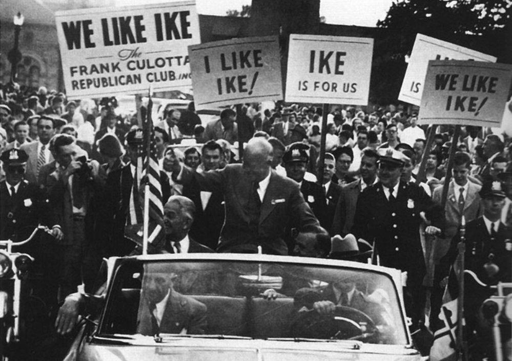 Eisenhower op campagne in 1952.