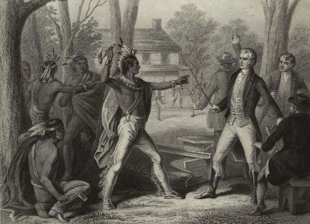 Confrontatie tussen Tecumseh en William Harrison in 1810. De toenemende spanningen zouden leiden tot de veldslagen in 1811 en 1813. (Foto: Wikimedia)