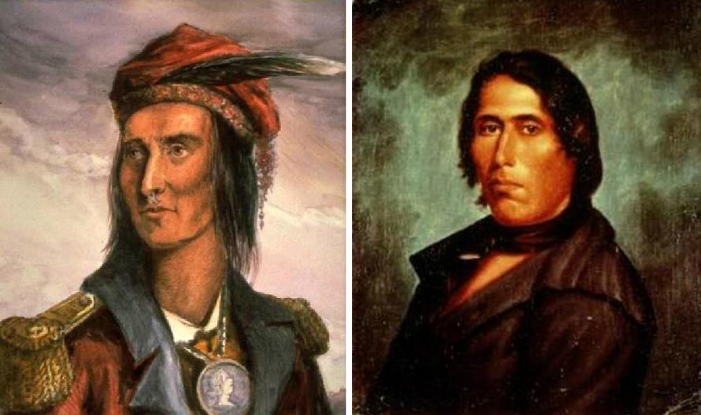 Er bestaat geen bekend portret van Tecumseh. Dit zijn twee mogelijke portretten van Tecumseh. (foto's: Wikimedia)