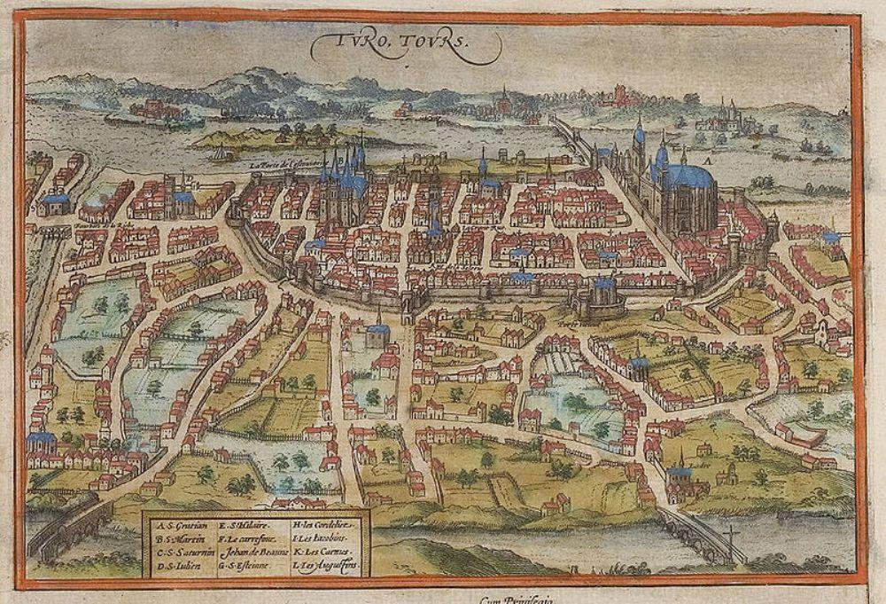 Plattegrond van de stad Tours, waar Maarten bisschop van was.