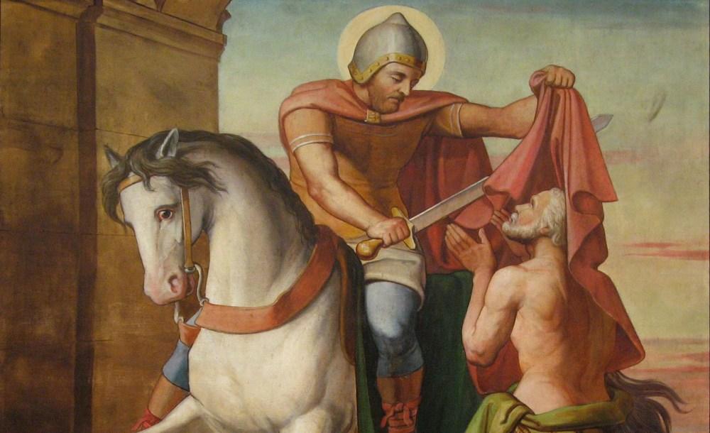 Martinus van Tours deelt zijn mantel met een bedelaar. (foto: Wikimedia)