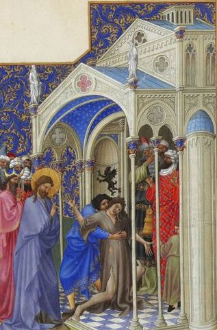 Onder toeziend oog van Christus verricht 'Sint' Maarten van Tours een duivelsuitdrijving. (foto: Wikimedia)