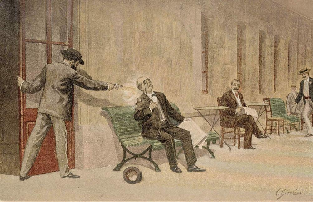 Moordaanslag op de Spaanse premier Del Castillo in 1897.