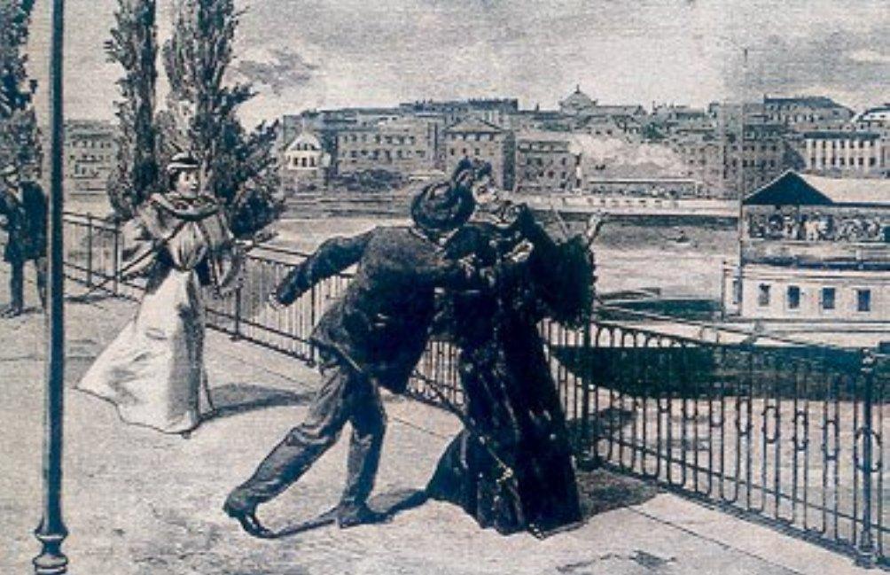 Gravure waarop de aanslag op Elisabeth van Oostenrijk op 10 september 1898 wordt afgebeeld. (foto: Wikimedia)