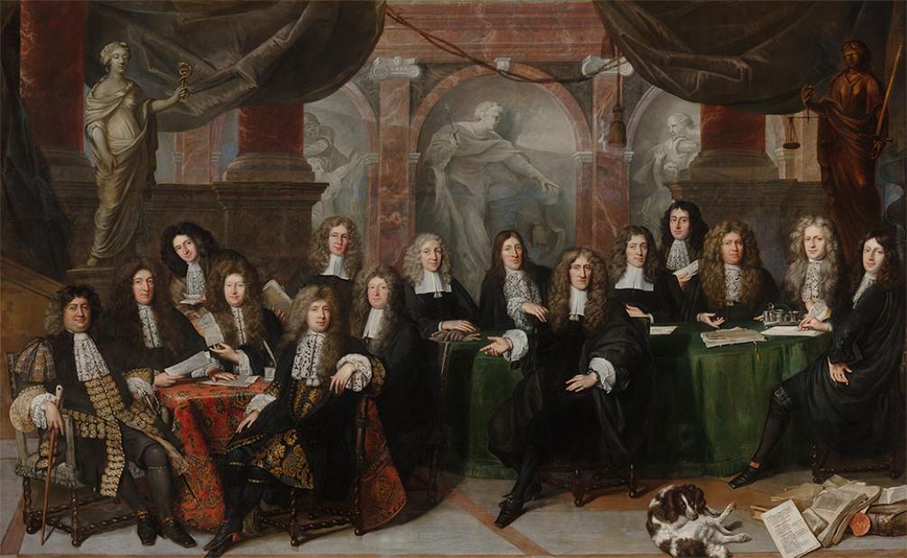 Adriaen Rosa links vooraan op het schilderij 'De Haagse Magistraat' uit 1682 van Johan de Bean. (Foto: Haags Historisch Museum)