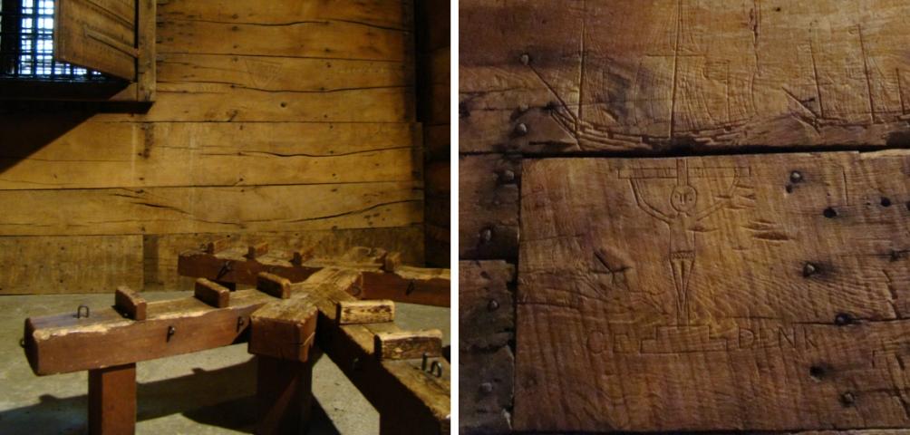 Een radbraakkruis en een van de ingekraste tekeningen in de cellen van Het Steen. (foto: Diana Pereira / Museum Het Prinsenhof Delft).
