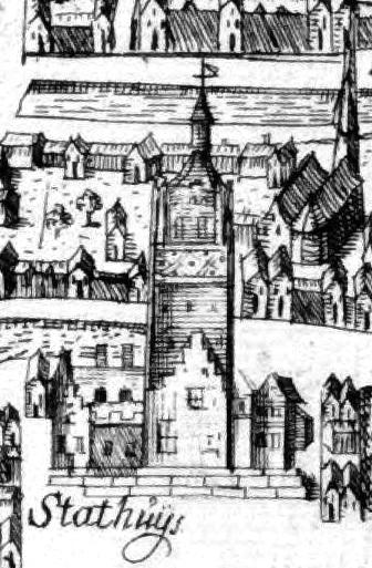 Het stadhuis ca. 1560 (Fragment van een kaart van Reinier Boitet)