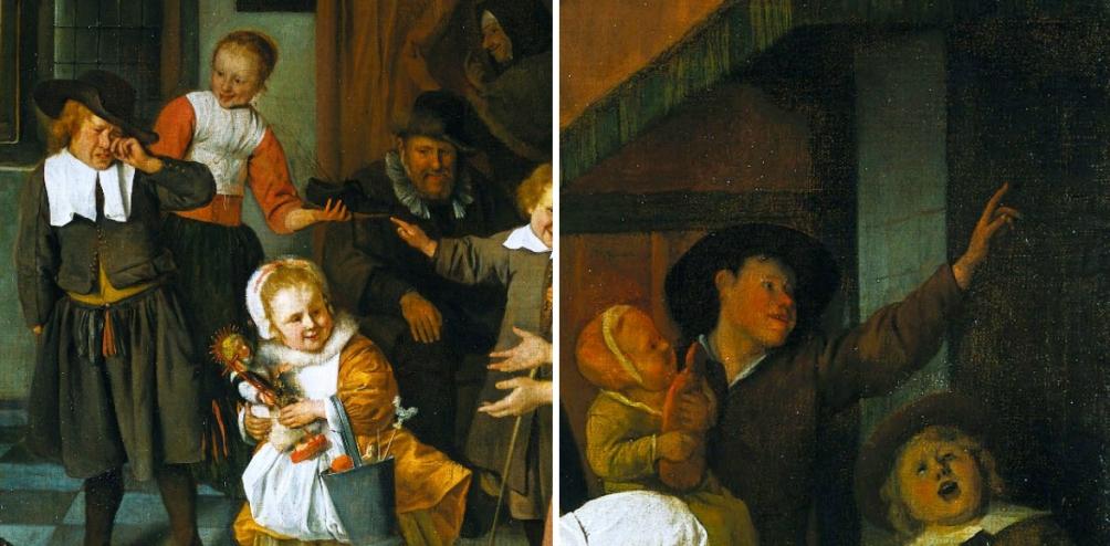 Het meisje met de speculaaspop in de vorm van Sinterklaas. De jongen wijst naar de schoorsteen, waar de kado's uit zouden zijn komen. De jongen huilt omdat hij de roe in zijn schoen heeft gekregen. Details uit 'Het Sint Nicolaasfeest' van Jan Steen. (foto: Wikimedia)