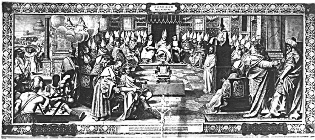 Een fresco uit het Vaticaan waarop het concilie van Nicea te zien is. Tijdens dit eerste concilie werd de leer van Arius verworpen. Hij stelde dat Jezus in eerste instantie een mens was. (foto: Wikimedia)