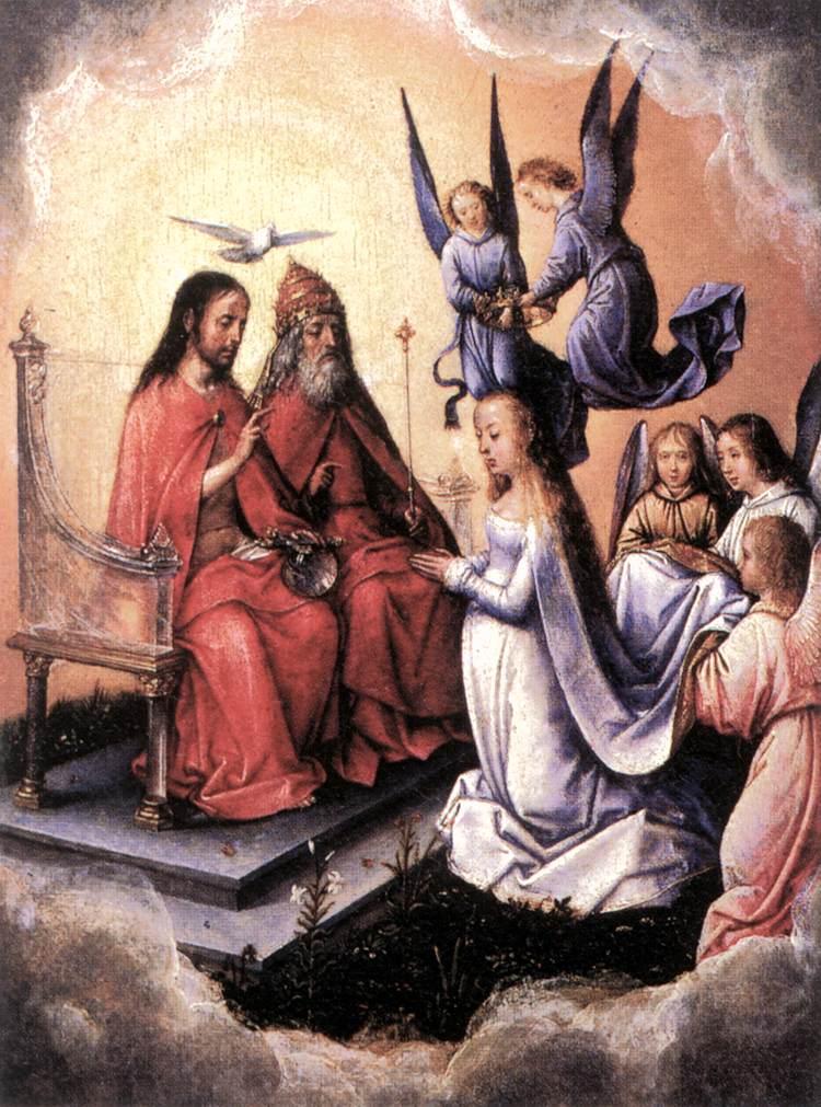 De maagd Maria knielt voor de Vader, de Zoon en de Heilige Geest. Het aanvaarden van de leer van de Heilige Drie-Eenheid had ook consequenties voor Maria, de moeder van Jezus. (foto:Wikimedia)