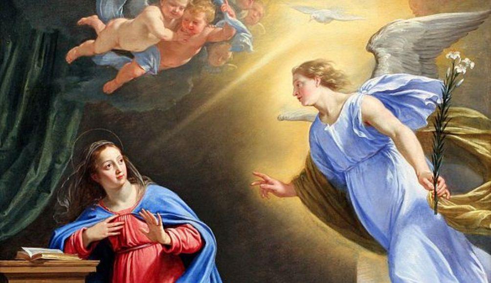 De aartsengel Gabriël bezoekt Maria om de geboorte van Jezus aan te kondigen.