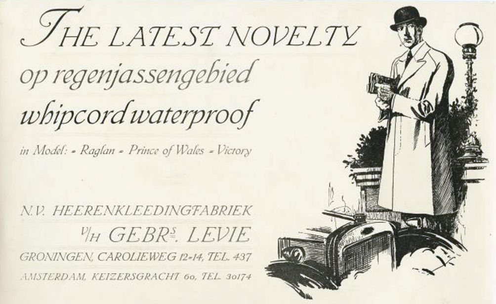 Reclame voor een regenjas (1926-1928). (Foto: Collectie RHC Groninger Archieven)