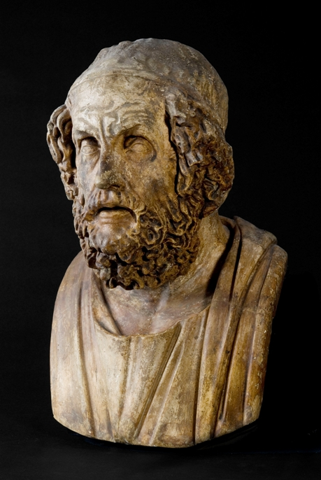 Gipsen van een buste van Homerus. Het origineel is rond 100 v.Chr. gemaakt. (foto: Allard Pierson Museum)