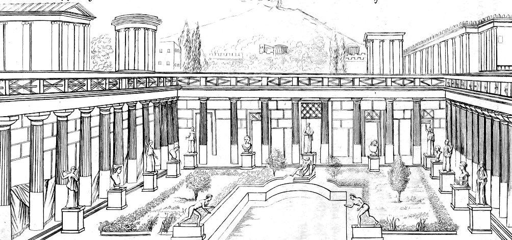 19e eeuwse reconstructie van de bibliotheek van Herculaneum. (Foto: Wikimedia)