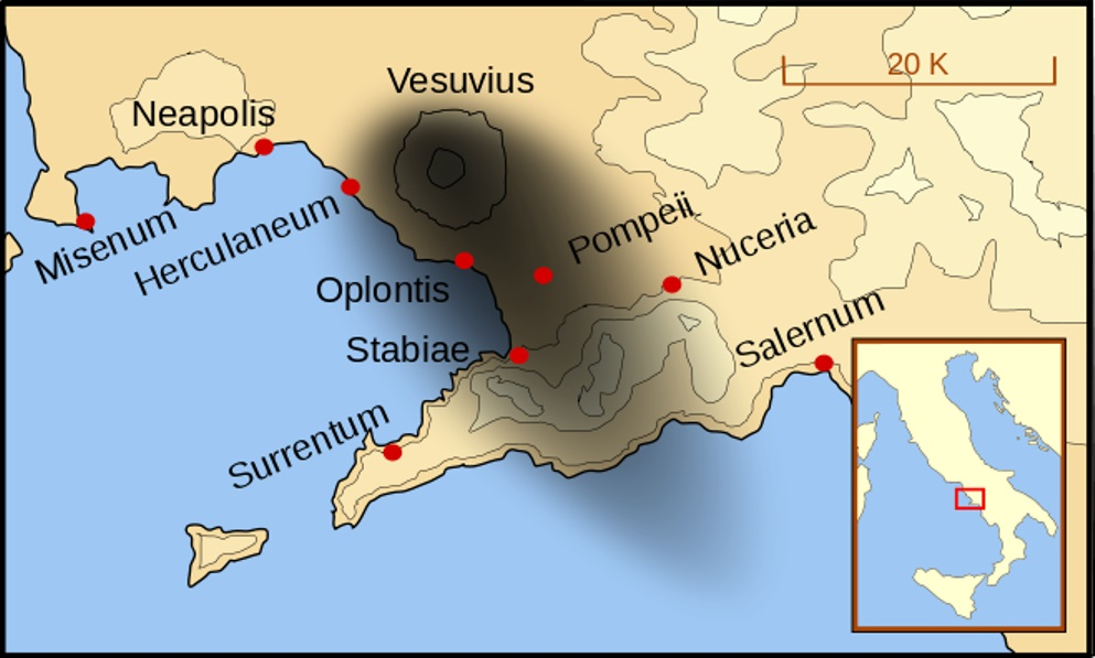 Kaart die de gevolgen van de uitbarsting van de Vesuvius in 79 na Christus duidelijk laat zien. Het oude Herculaneum lag ten westen van de Vesuvius. (Foto: Wikimedia)