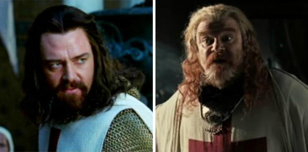 Reinoud van Châtillon, de heer van Kerak (Brendan Gleeson) en rechts edelman Guy of Lusignan (Marton Csokas). (foto's Fox Films)
