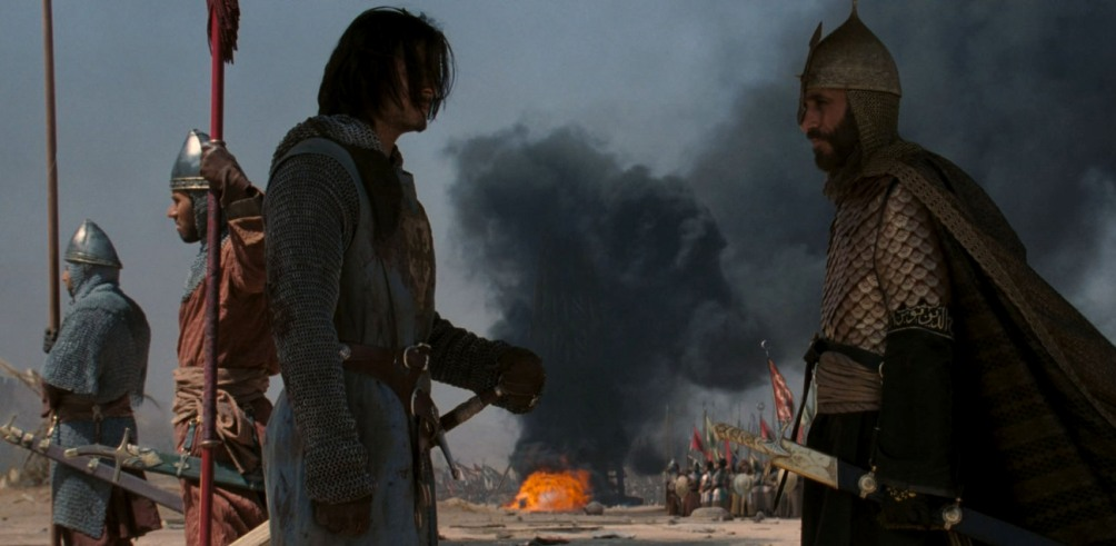Balian met Saladin in de film Kingdom in Heaven. (foto: Fox Films)