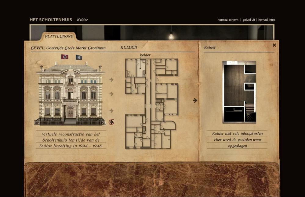 Screenshot van website Scholtenhuis waar je online een wandeling door het gebouw kunt maken. (foto: Scholtenhuis)