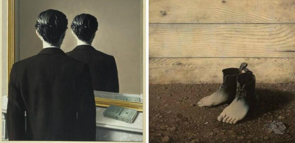 René Magritte's werken Verboden af te beelden (links) en Het rode model III, beide uit 1937. (Collectie en foto´s: Museum Boijmans Van Beuningen)