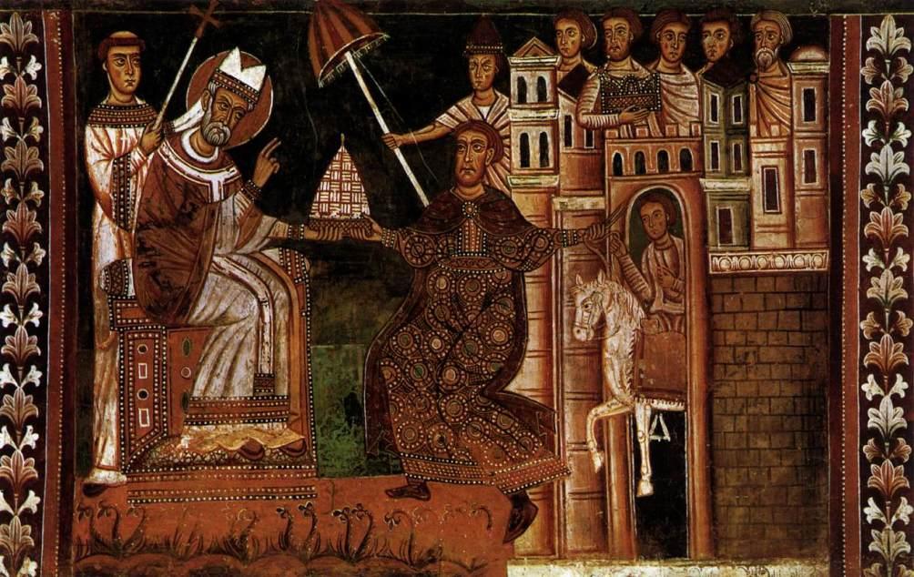 Fresco in de kapel van de heilige Sylvester: De schenking door Constantijn. (Foto: Wikimedia)