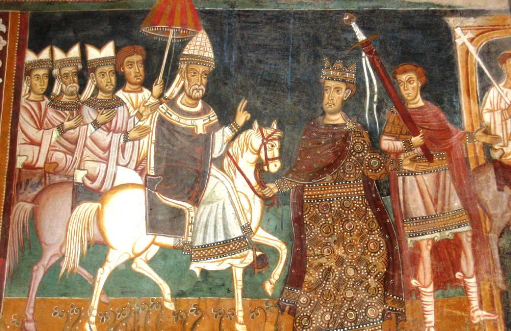 De laatste voorstelling op de fresco. Constantijn leidt het paard van paus Sylvester de stad in. (Foto: Wikimedia)