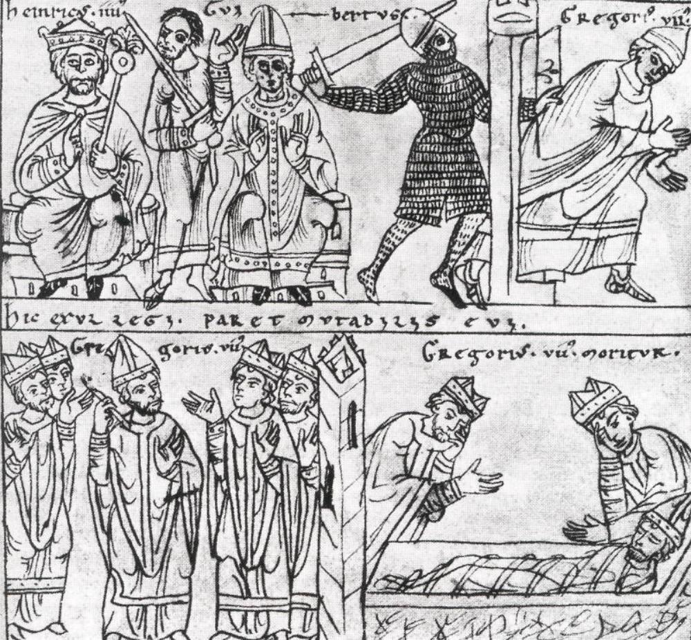 Illustratie uit een handschrift uit 1150 waarin de investituurstrijd wordt uitgebeeld. Te zien zijn tegenpaus Clemens III (midden) met keizer Hendrik IV, de kroning van Hendrik IV, Clemens en de vlucht en dood van Gregorius VII. (Foto: Wikimedia).