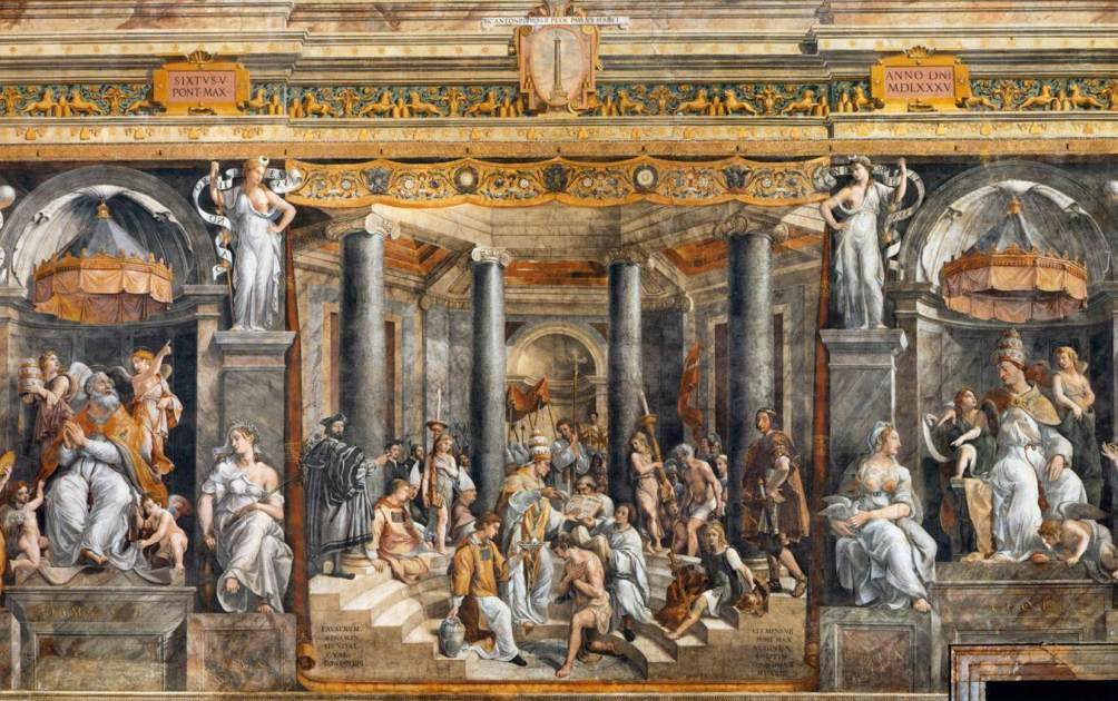 In de Stanze van Raphaël in het Vaticaan is één kamer volledig aan Constantijn gewijd. Hierboven de afbeelding van de Donatio Constantini. (Foto: Wikimedia)