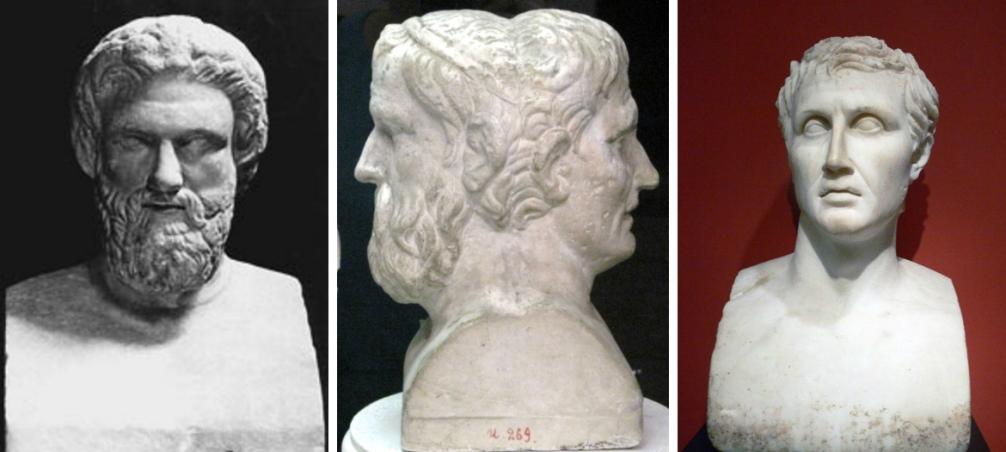 Van alle komedies die in de Griekse oudheid geschreven zijn, zijn er nu nog maar 12 in zijn geheel bekend. De schrijvers van deze stukken zijn Aristofanes (links) en Menander (rechts). In het midden is een buste te zien waarin de hoofden van de twee schrijvers zijn verwerkt. (foto's: Wikimedia)