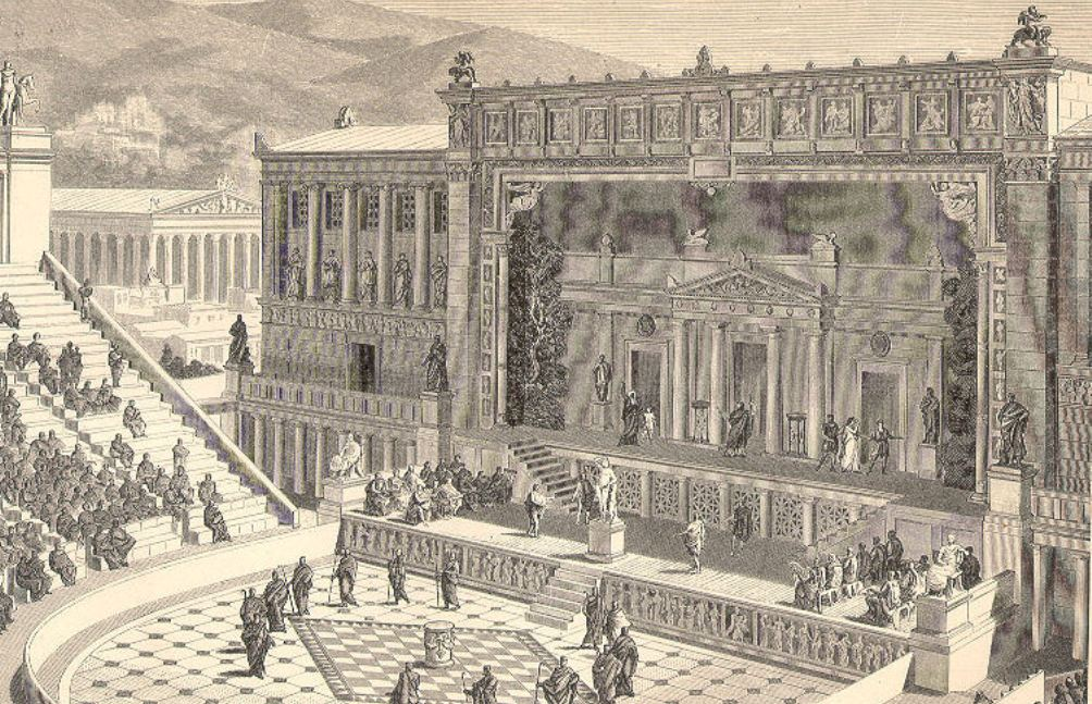 Impressie van een Grieks theater. Dit is het theater van Dionysos in Athene. (foto: Wikimedia)