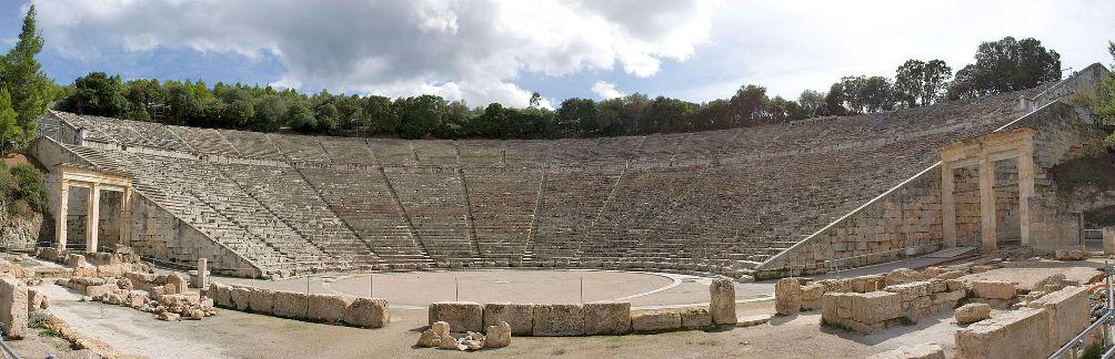 Panoramische sfeerfoto van het theater van Epidaurus. (foto: Wikimedia)