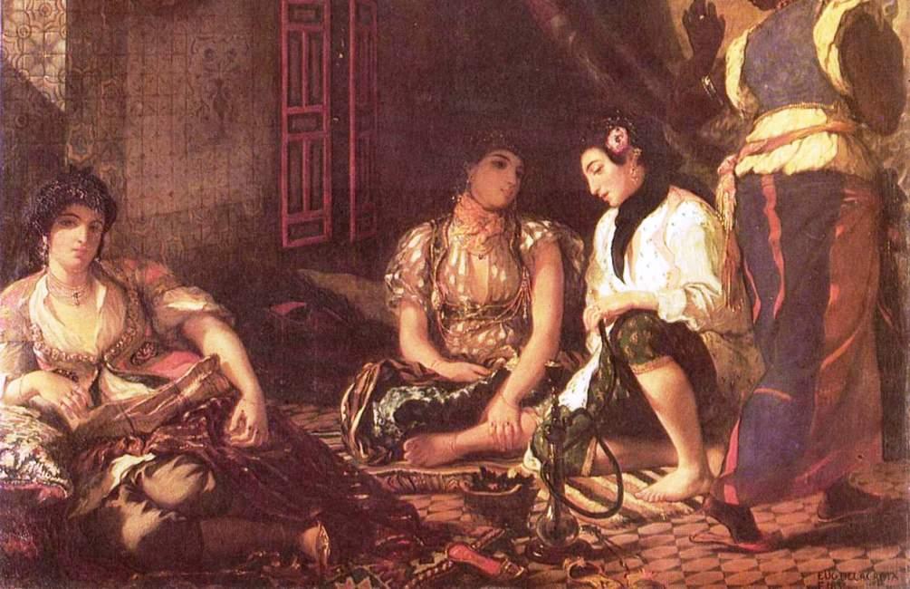 De vrouwen van Algiers van Eugène Delacroix. De reis die Delacrois in 1832 naar Noord Afrika maakte had grote invloed op zijn werk. (Foto: Wikimedia)