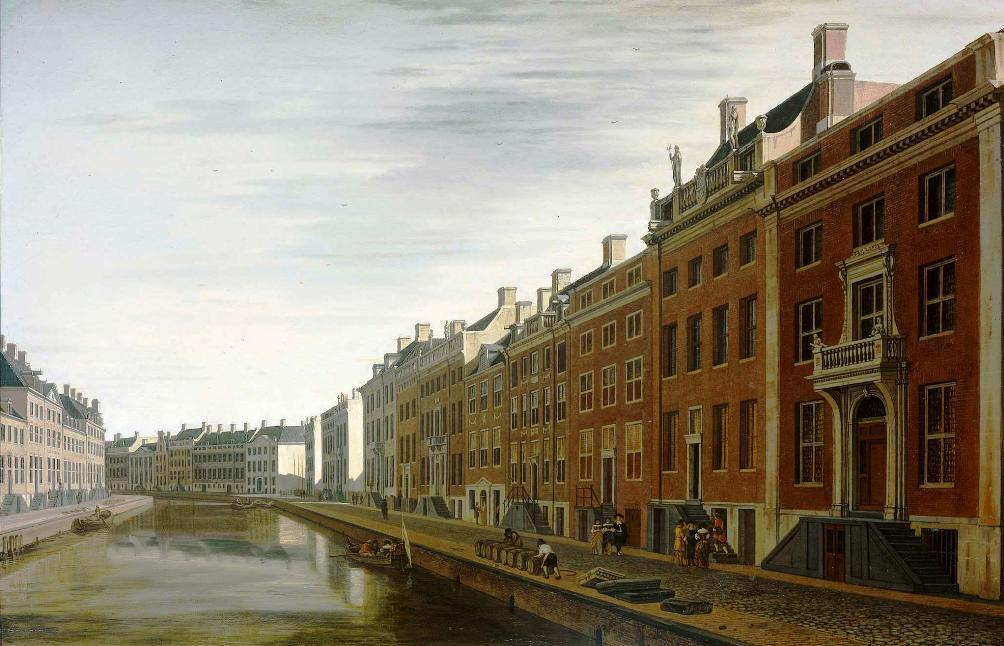 """""""De Bocht van de Herengracht bij de Nieuwe Speigelstraat te Amsterdam"""" (1672) van Gerrit Adriaensz. Berckheyde. Dit schilderij toont de andere kant van de Gouden Bocht, ook hier zijn nog lege kavels te zien."""