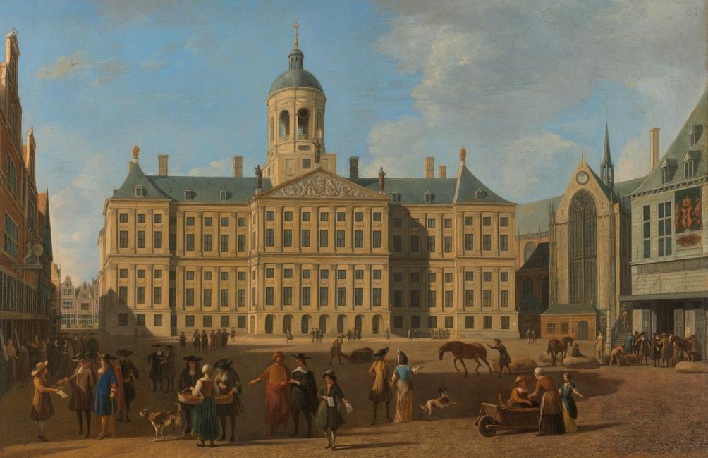 """""""Het Stadhuis op de Dam te Amsterdam"""" (1693) van Gerrit Adriaensz. Berckheyde, een goed voorbeeld van het Hollands classicisme."""