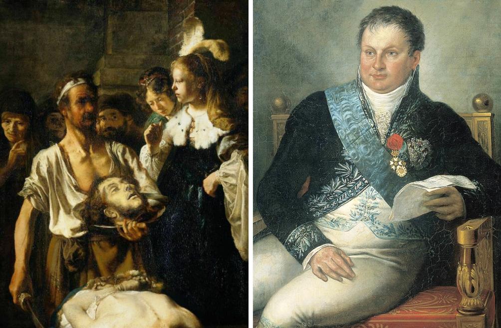 Links: De onthoofding van Johannes de Doper van Rembrandt van Rijn, een van de eerst aangekochte werken voor de Nationale Kunstgallerij. Rechts: minister Alexander Gogel, de initiatiefnemer van Nationale Kunstgallerij, voorloper van het Rijksmuseum. (foto's Wikimedia)