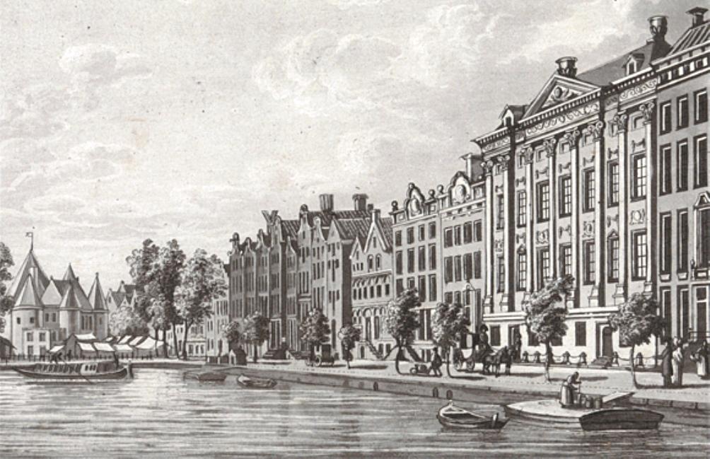 Het Trippenhuis aan de Kloveniersburgwal te Amsterdam, waar van 1817 tot 1885 het Rijksmuseum gevestigd was. Door A. Lutz, 1825. (foto: Rijksmuseum)