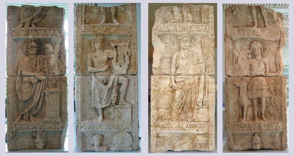 Nijmegen maakte deel uit van de noordelijke grens van het Romeinse Rijk. Nog steeds worden er resten uit die tijd gevonden. Hierboven de vier zijden van de Godenpijler die in 1980 werd geonden. Van links naar rechts: Tiberius (die wordt gekroond door Victoria), Apollo, Ceres en Diana. (Foto: Wikimedia)