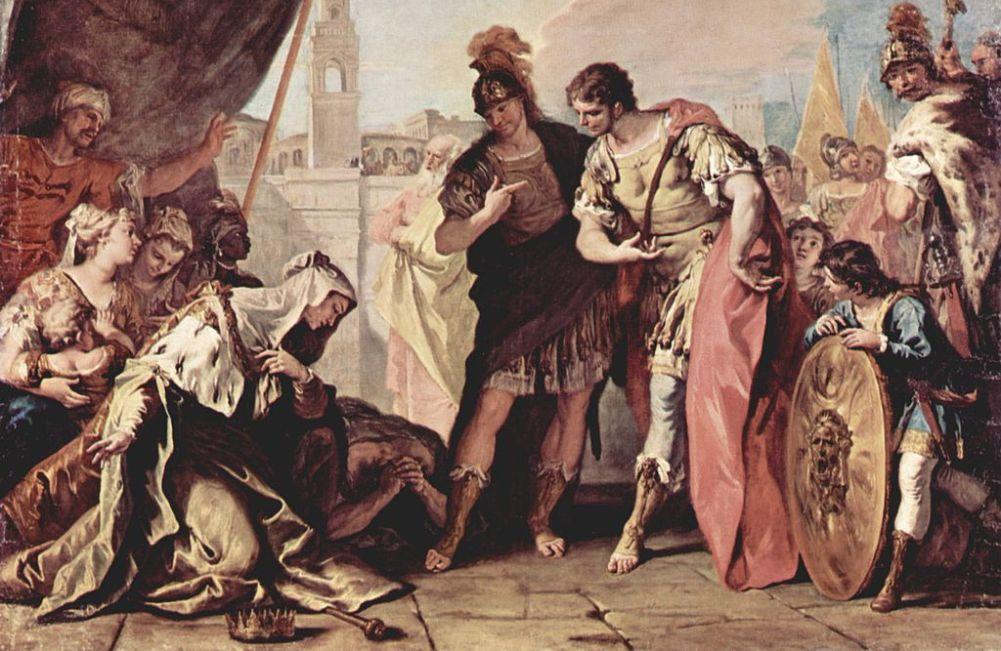 Alexander de Grote bij de tent van de familie van Darius. Schilderij van Sebastiano Ricci. (foto: Wikimedia)