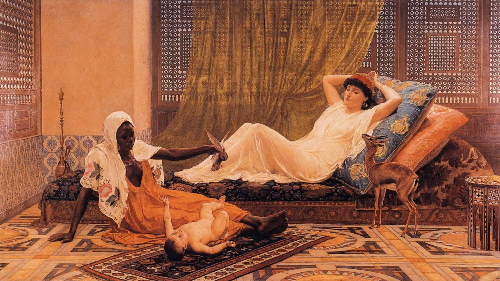 Een 19e eeuws oriëntalistisch schilderij 'A New light in the harem', van Frederick Goodall. (Foto: Wikimedia)