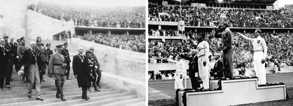 Foto links: Adolf Hitler met het Olympisch Comité. Foto rechts: Jesse Owens heeft de gouden medaille gewonnen op het onderdeel verspringen (foto's: Wikimedia)
