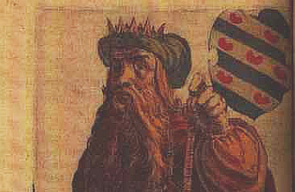 """Koning Aldgisl van Friesland, uit de """"Chronique ofte Historische geschiedenisse van Frieslandt"""" van P. Winsemius. (foto: Wikimedia)"""