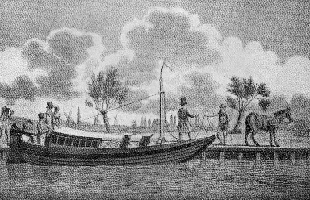 Trekschuit in het begin van de 19e eeuw. (foto: Wikimedia)