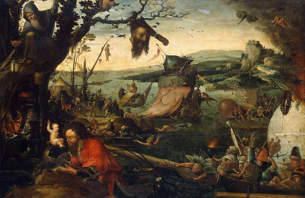 De legende van de Heilige Cristoffel verbeeld door Jan Mandijn (ca. 1500–ca. 1560). (Foto: Wikimedia)