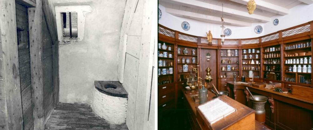 De laatst overgebleven dolcel en de apotheek van het Catharina Gasthuis in Gouda. (foto's Wikimedia)