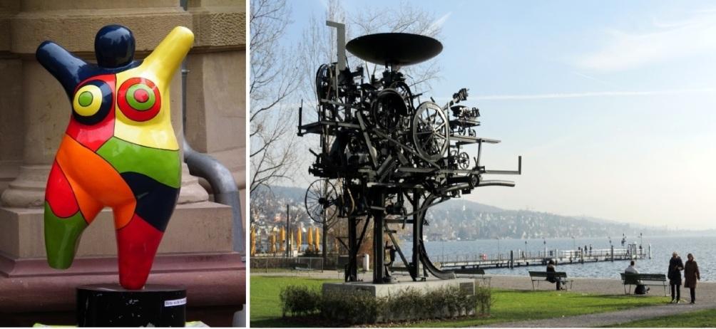 Twee totaal verschillende stijlen. Links de Heureka van Tinguely en rechts een van de nana's van de Saint Phalle. (foto's Wikimedia)