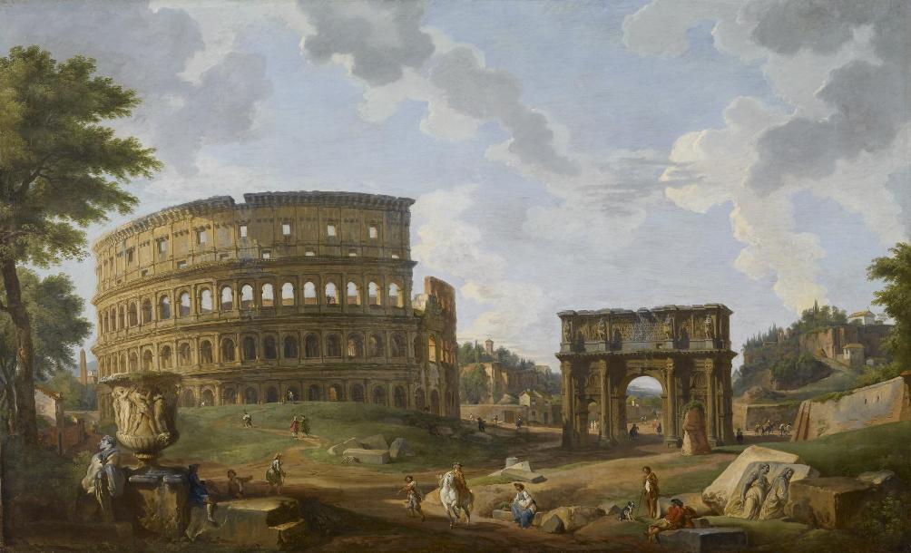 Geïdealiseerd zicht op het Colosseum en de boog van Constantijn in Rome, door Giovanni Paolo Panini. Rijke Engelsen namen dit soort schilderijen graag mee als souvenir voor hun privécollectie. (foto: Wikimedia Commons)