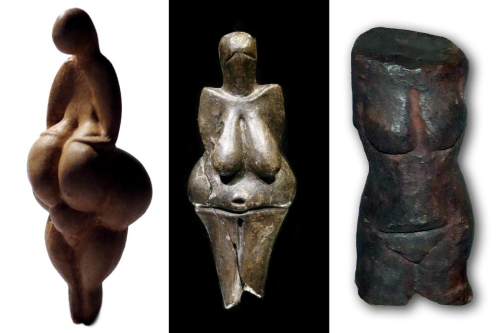 Drie prehistorische venusbeeldjes